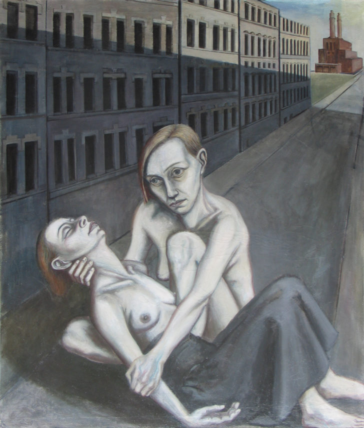 Doris Ziegler, Pieta, 140x120 cm, 1990, Mischtechnik auf Leinwand