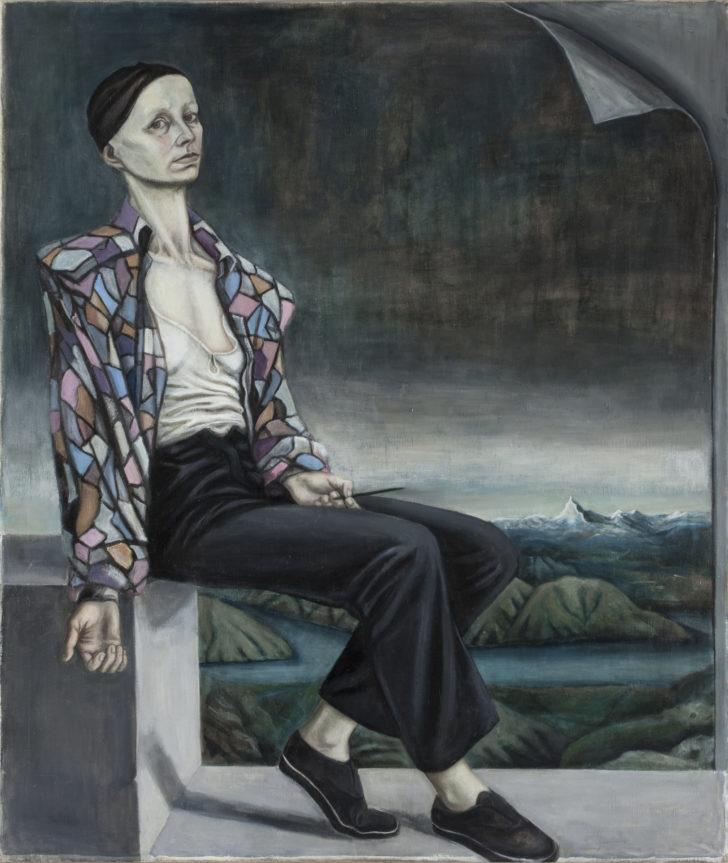 Doris Ziegler, Selbst mit Matterhorn, 130x110 cm, 1988, Öl auf Leinwand