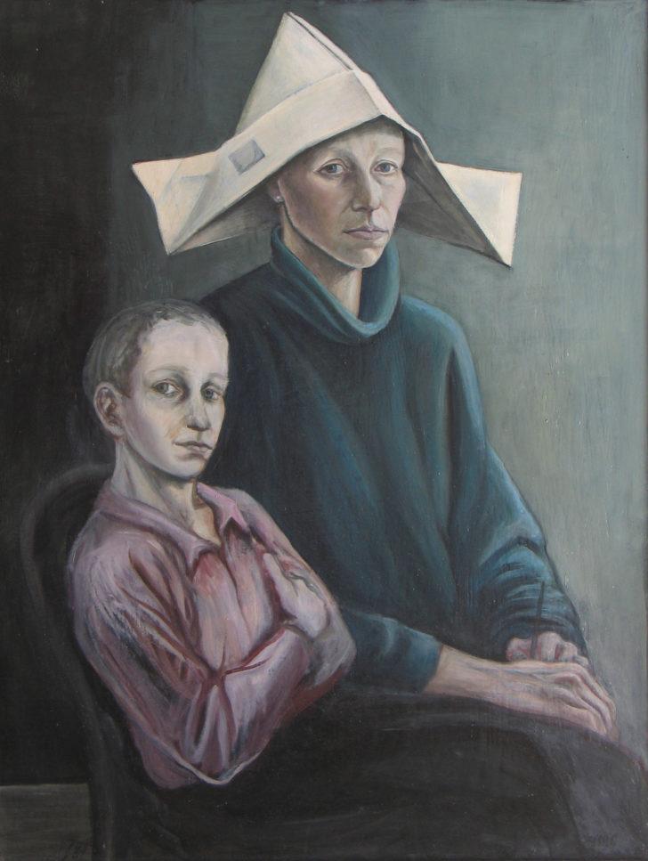 Doris Ziegler, Selbst mit Sohn, 77x59 cm, 1987
