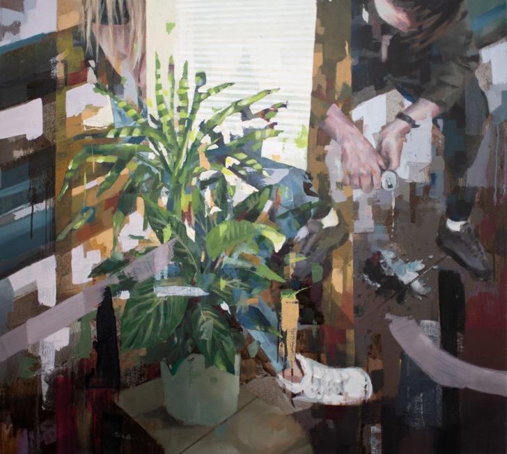 Franz Ehrenberg, Stoff, 93x82 cm, 2019, Öl auf Leinwand