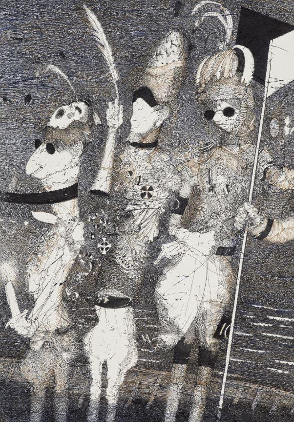 Rolf Münzner, (Blindes Vertrauen) »Patromanie«, 42 x 29 cm, 2018, Tuschezeichnung