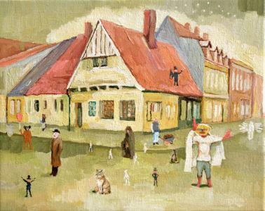 Lutz Bleidorn, Gesellschaft im September, 24x30 cm, 2019, Öl auf Leinwand
