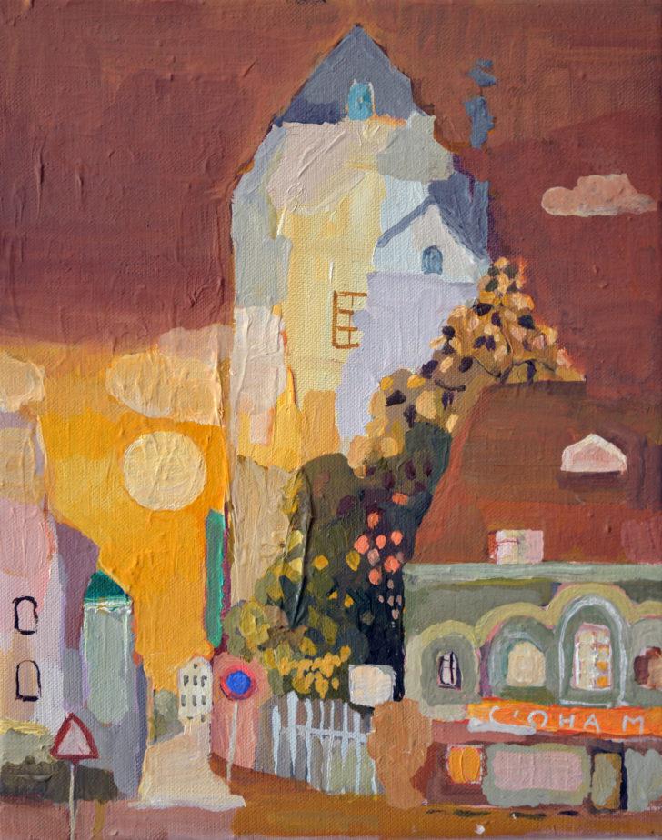 Lutz Bleidorn, Nacht in der Altstadt, 24x30 cm, 2019, Öl aof Leinwand