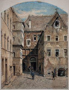 Carl Werner, Die Pleißenburg/Leipzig, Aquarell, 1886