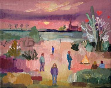 Lutz Bleidorn, Eiderparty, 24x30 cm, 2019, Öl auf Leinwand