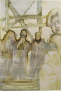 Lisa Wölfel, Abflug, 200x120 cm, 2016, Kohle und Öl auf Holz
