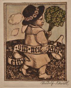 Rudolf Schiestl, Neujahrskarte, colorierte Radierung