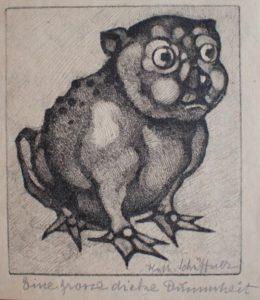 Katharine Schäffner, Eine grosze dicke Dummheit, 17x15 cm, o. J., Offset-Lithograpie
