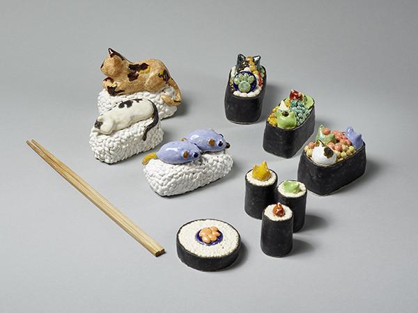 Yuko Takatsudo, Sushi, 2019, bemalte Keramik