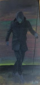 Leonhard Wachter, Searcher, 20x9,5 cm, 2020, Acryl auf Holz