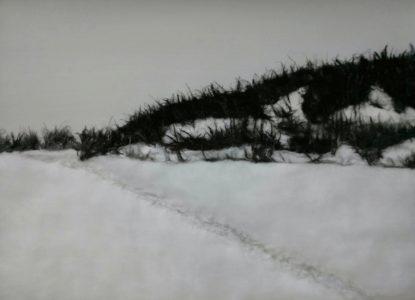 Jinran Kim, Winterlandschaft 1, 50x70 cm, 2018, Gaze, Papier, Asche