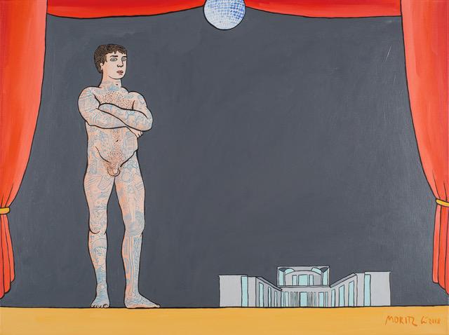 Moritz Götze, Bühne, 60x80 cm, 2018, Öl auf Leinwand
