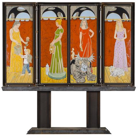 Moritz Götze, Jesus vor Kaiphas, Altar, bestehend aus 10 Bildern (nach einer nicht ausgeführten Entwurfszeichnung von Cranach d.Ä.), 185x290 cm, 2017, Installation