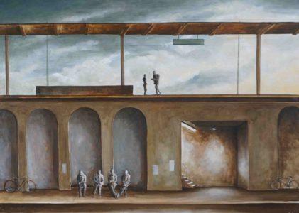 Benjamin Kerwien, Vier im Schatten, 40×30 cm, 2018, Öl auf Holz