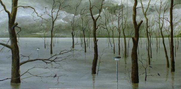Benjamin Kerwien, Herbsthochwasser, 20x40 cm, 2020, Öl auf Alu
