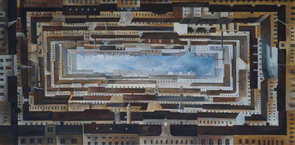 Benjamin Kerwien, Himmel, 120×50 cm, 2019, Öl auf Holz