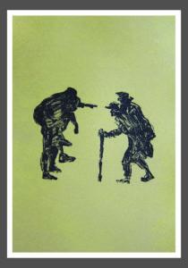 Juana Anzellini, Mutuum Auxilium, 50×35 cm, 2016, Goldpigment und Siebdruck auf Büttenpapier, 1/9