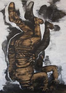 Juana Anzellini, Nicht sehen wollen (Übersetzerin), 70×50 cm, 2017, Mischtechnik auf Leinwand