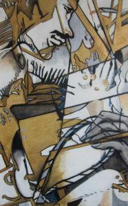 Juana Anzellini, Profilieren, 80x50 cm, 2019, Mischtechnik auf Leinwand