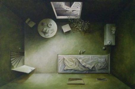 Benjamin Kerwien, 12 Quadratmeter in Grün, 60 x 40 cm, 2020 Mischtechnik und Öl auf Mdf