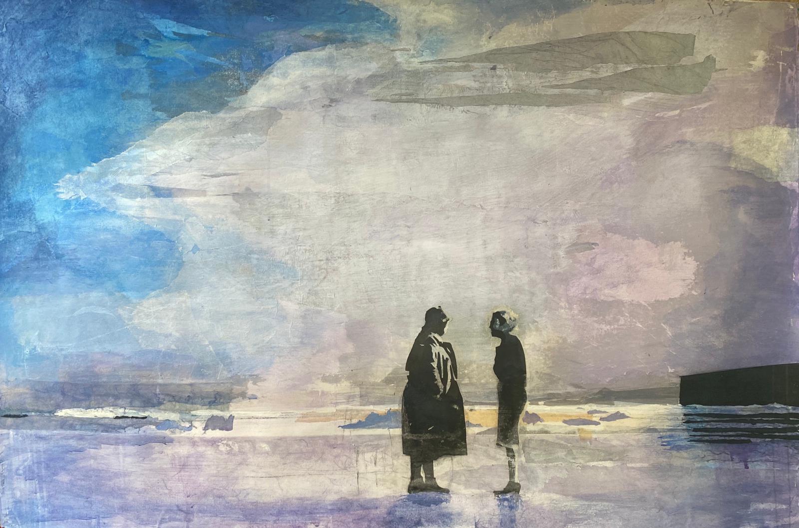 Christiane Wachter, Vor der Flut, 80x121 cm, 2020, Mischtechnik auf Papier