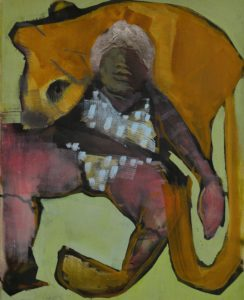 Lisa Wölfel, Heavy Weight, 50x40 cm, 2020, Tusche und Acryl auf Leinwand