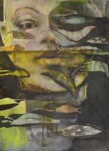 Lisa Wölfel, Drift, 110x80 cm, 2020_Tusche und Pastell auf Leinwand