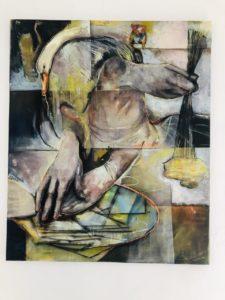 Lisa Wölfel, Zwischenzeit, 150x125 cm, 2020, Tusche, Acryl und Pastell auf Leinwand